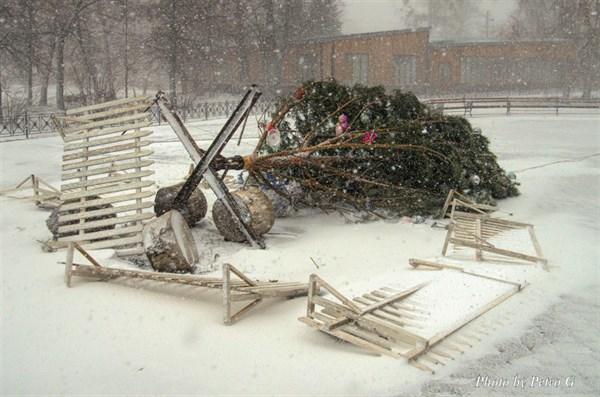 Новогодняя елка на набережной в Святогорске «прилегла отдохнуть». Фотофакт