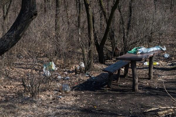 Вместо первоцветов в посадке на Химика славянский фотограф запечатлел мусор и пластиковые бутылки