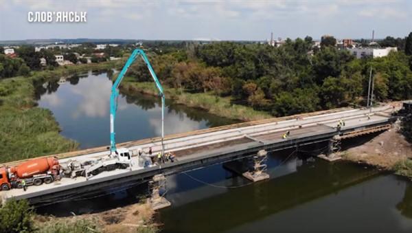 Реконструкция моста в Славянске близится к финальной стадии