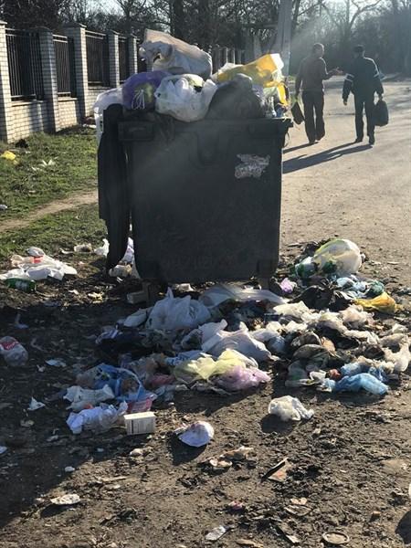 Жительница Славянска обращает внимание коммунальщиков на состояние мусорных баков по улице Интернатной