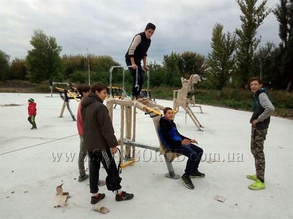 Злоумышленники в Славянске  сняли шесть ручек-держателей с новых тренажеров-трансформеров