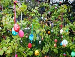 Жители Славянска поставили рекорд Украины украсив пасхальное дерево почти тремя тысячами яиц